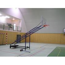 Basketbalová konstrukce pojízdná, interiér, sklopná-skládací, vysazení 2 m