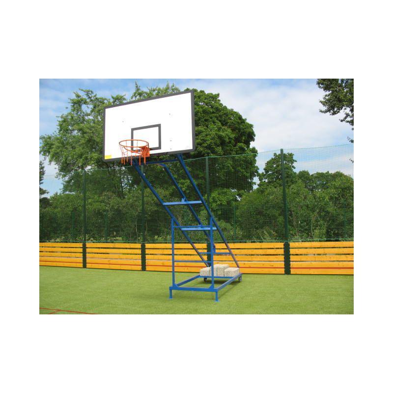 Basketbalová konstrukce pojízdná - mobilní - lakovaná, exteriér, sklopná, vysazení 2 m