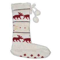 Dámské ponožky s losem, bambulkami a pletenou podrážkou