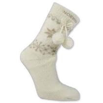Dámské ponožky s norským vzorem a bambulkami - bílé