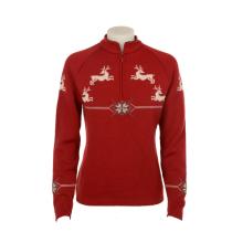 Dámský svetr Norlender GURI se sobem, červený, norský vzor