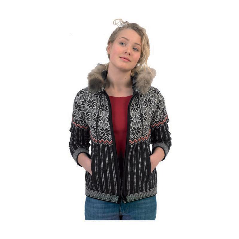 Dámský svetr Norlender ODA s kapucí, tmavý, norský vzor