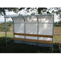 Hráčská kabina SC 3m, ocelová zinkovaná konstrukce + polykarbonát