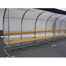 Hráčská kabina SC 5m, ocelová zinkovaná konstrukce + polykarbonát