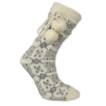 Norské pletené ponožky s bambulkami - bílé