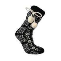 Norské pletené ponožky s bambulkami - černé