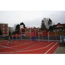 Oplocení víceúčelového hřiště SYSTEM SC - kovo, d. 15 m vč. branky a streetbalu