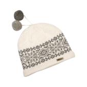 Pletená čepice s bambulkami - bílá