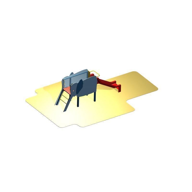 Slon (překližka) skluzavka - Skluzavka s plošinou a schody (DHMŠ 9)