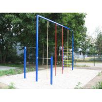 Šplhová sestava exteriér - 2 hrazdy, 2 lana, 2 tyče. žebřík